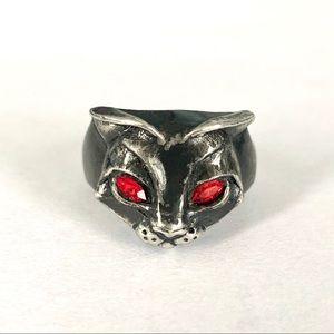 Alchemy Gothic Bastet cat goddess ring